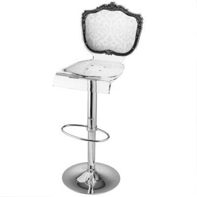 Baroque Barstool - White with pedestal adjustable base
