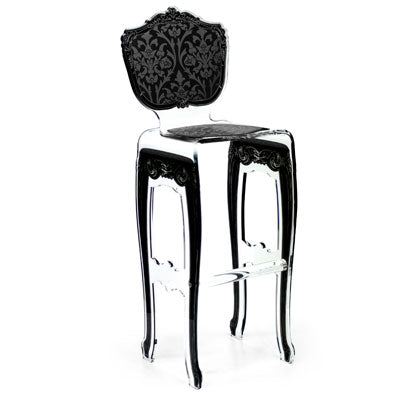 Baroque Barstool - Black with plexiglass legs