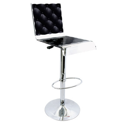 Capiton Barstool - Black w/ metal adjustable pedestal base