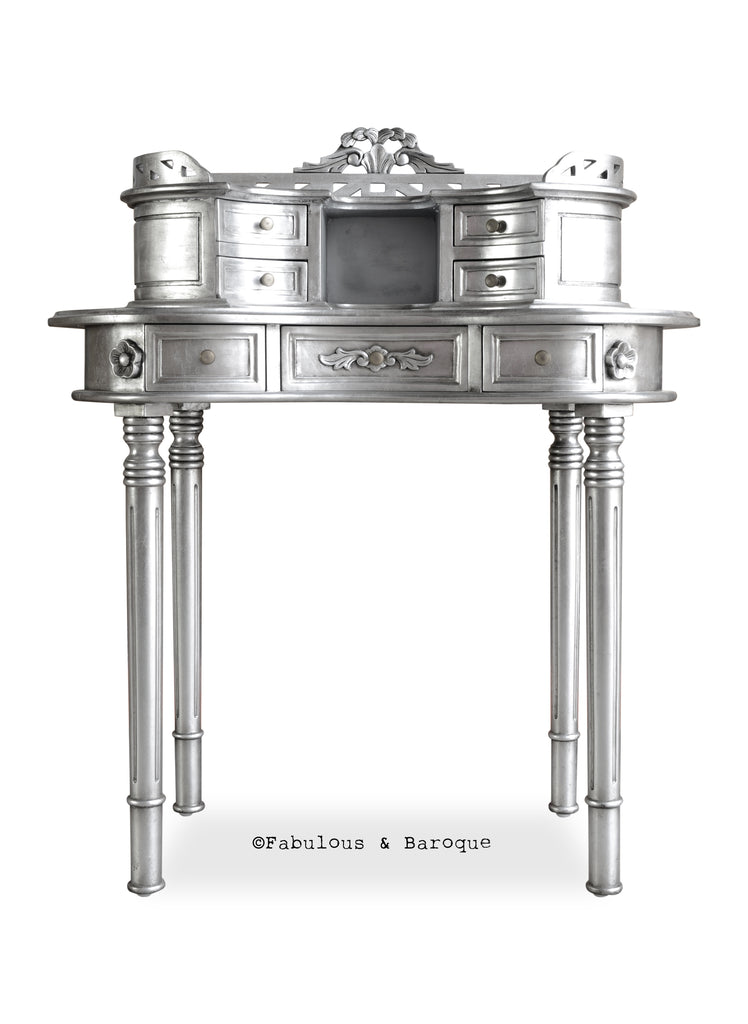 Fabulous and Baroque's Adelle Ladies' Desk - Silver
