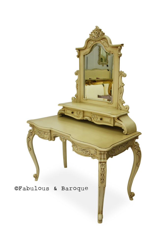 Anais Dressing Table & Mirror- Ivory