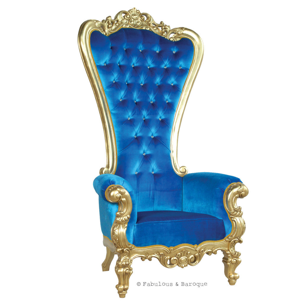 Gryphon Reine Chair - Gold & Royal Blue Velvet