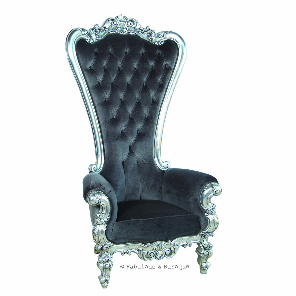 Absolom Roche Chair - Silver & Charcoal Velvet