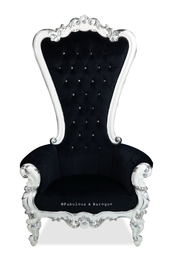 Gryphon Reine Chair - White & Silver leaf accents w/ Black Velvet