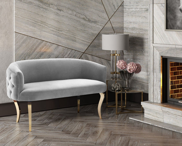 Adina Velvet Loveseat *Available in Grey, Navy & White*