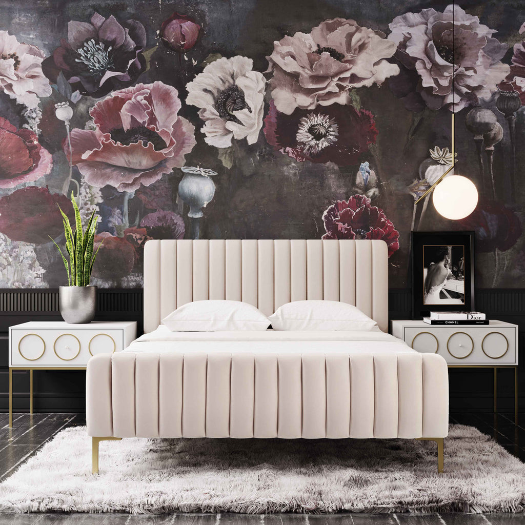 Angela Glam Bed - Available in Blush & Grey