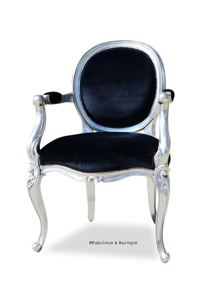 Angelique Armchair - Silver Leaf & Black Velvet