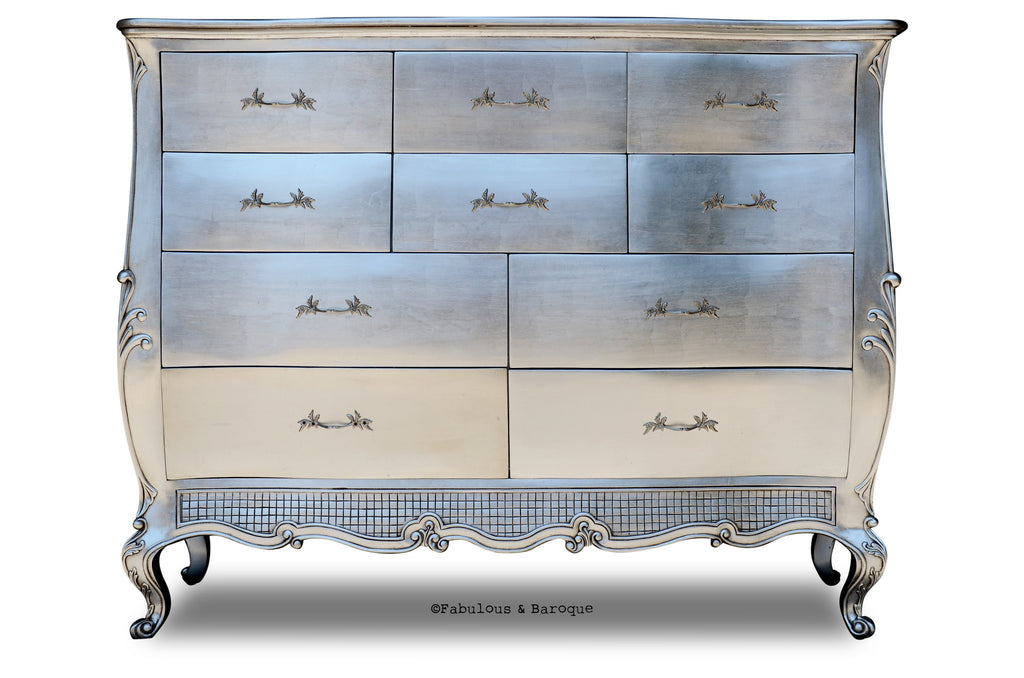 Angelique Grand Chest of Drawers - Silver leaf