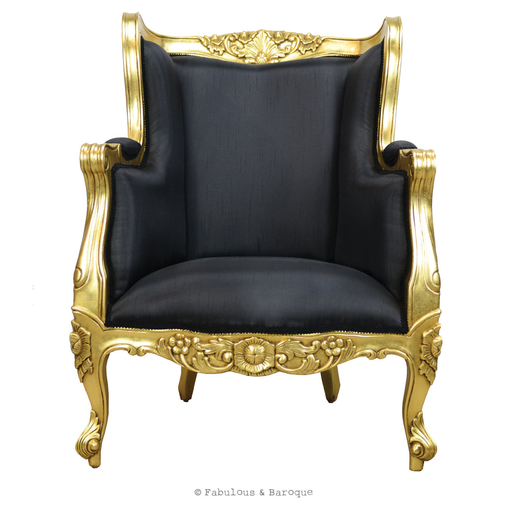 Aveline French Wing Back Chair - Gold Leaf & Black