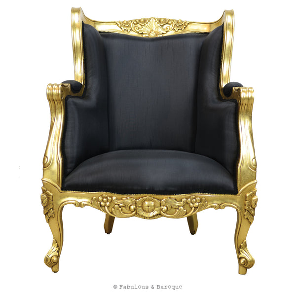 Aveline French Wing Back Chair Gold Leaf Amp Black Fabulous And Baroque