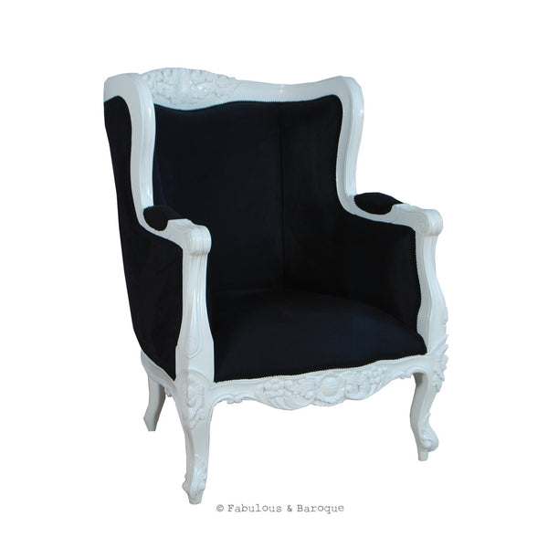 Aveline French Wing Back Chair - White & Black