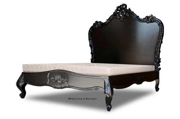 The Babette platform bed is a spectacular, hand carved, mahogany show piece that dazzles with its ornate, hand-crafted head board.