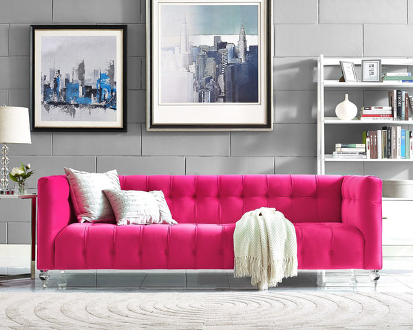 Bea Velvet Sofa *Available in HOT Pink, Navy, Cognac & Grey