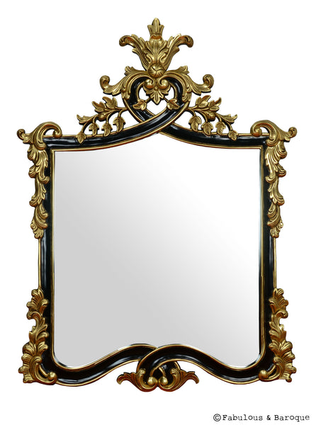 Bella Acorn Mirror- Black & Gold