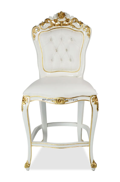 Belle de Fleur Barstool - White & Gold leaf accents w/ White leatherette