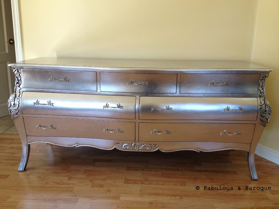 Bordeaux Bombay 6 ft Chest of Drawers - Silver Leaf - Client Photo
