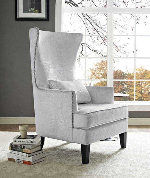 Bristol Velvet Tall Back Chair *Available in Silver Croc, Navy & Sea Blue*