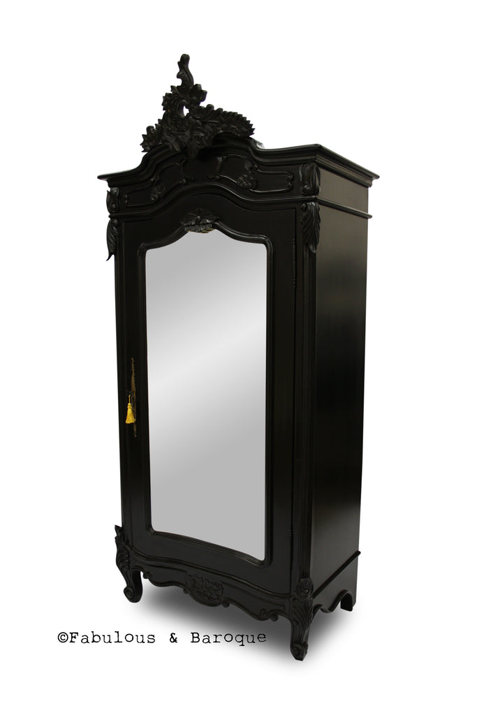 Christelle Single Door Mirrored Wardrobe- Black