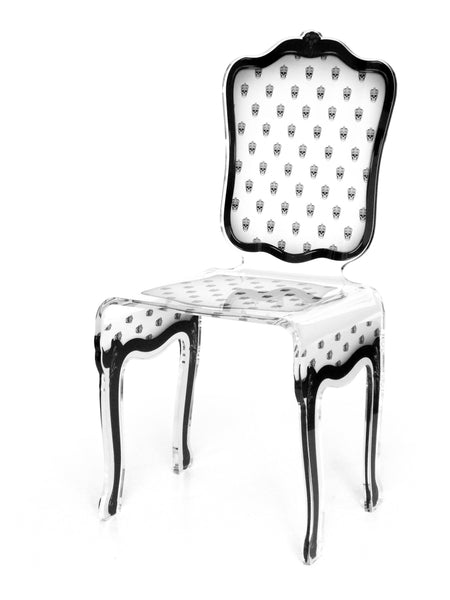 Charleston Chair - White with mini skulls