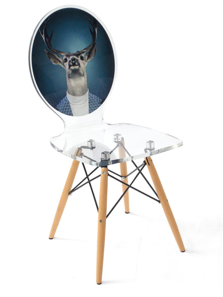 Graph Chair - Pigeon Blue Deer with wooden legs