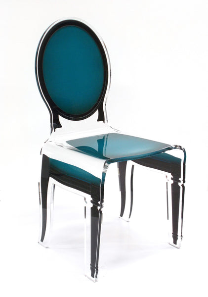 Sixteen Chair - Pigeon Bleu with black outline