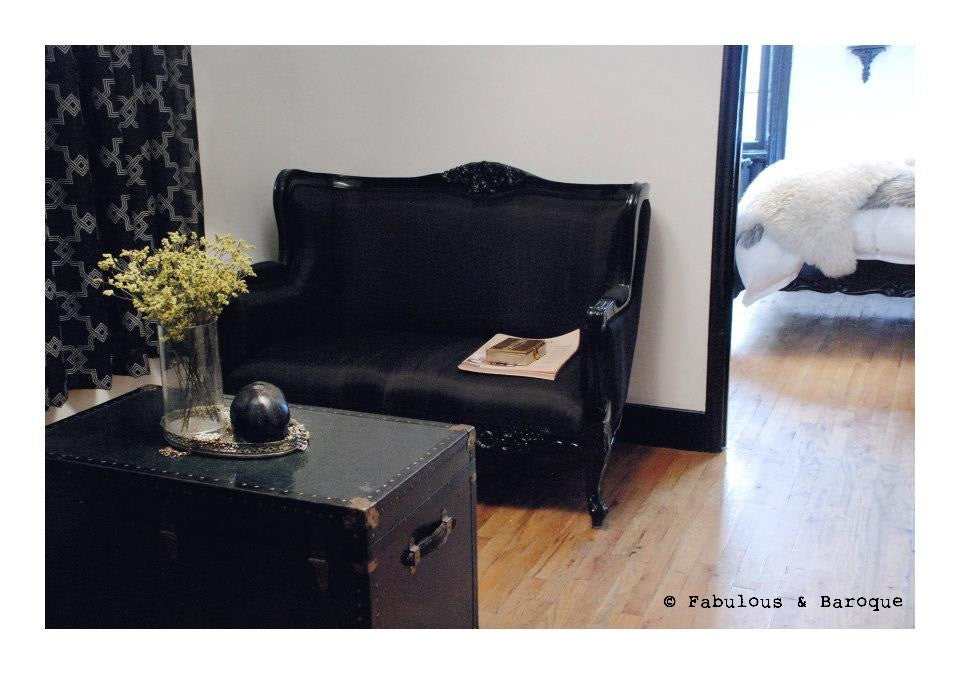 Camille French Love Seat Black Client Photo Fabulous