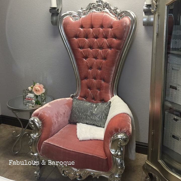 Gryphon Reine Chair - Silver & Crushed Pink Velvet - Client Photo