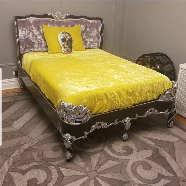 Copy of Genevieve Bed - Black & Silver w Lavender Crushed Velvet