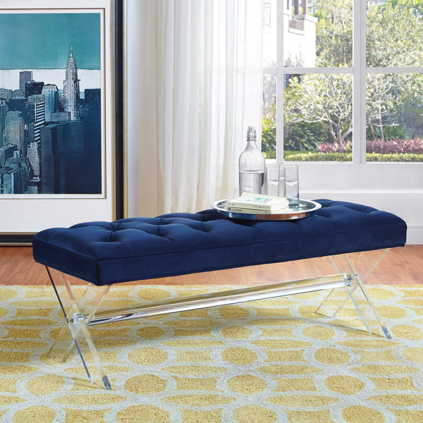 Claira Velvet Bench w/ Lucite legs *Available in Navy & Grey*