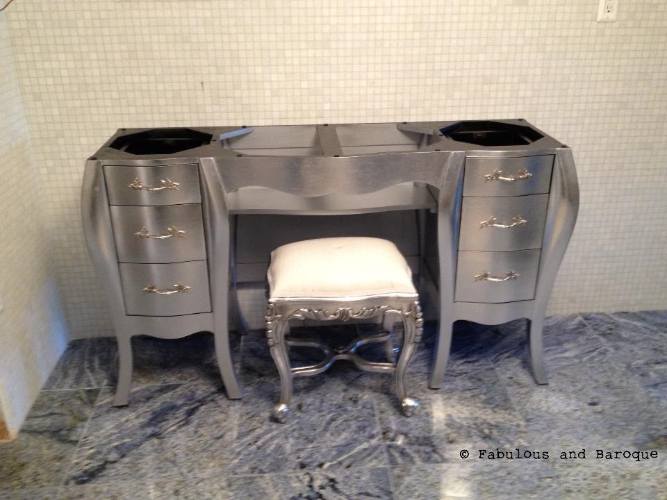 Custom Vanity - Silver Leaf - Client Photo