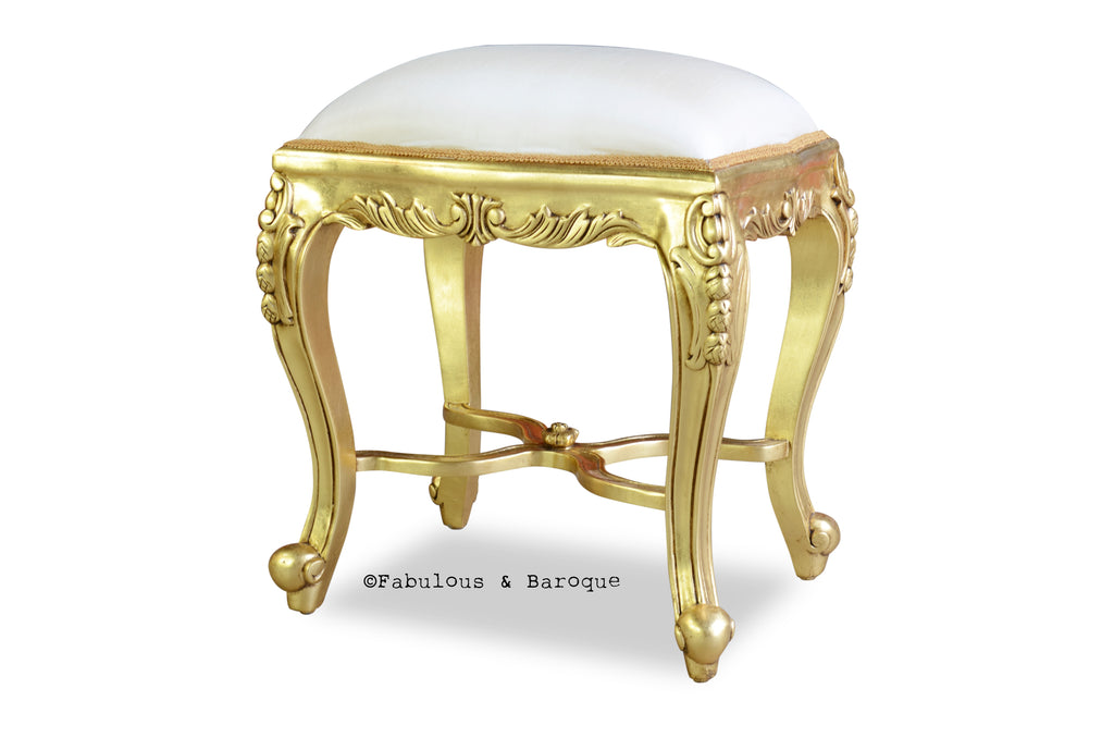 Fabulous French Dressing Table Stool - Ivory & Gold Leaf