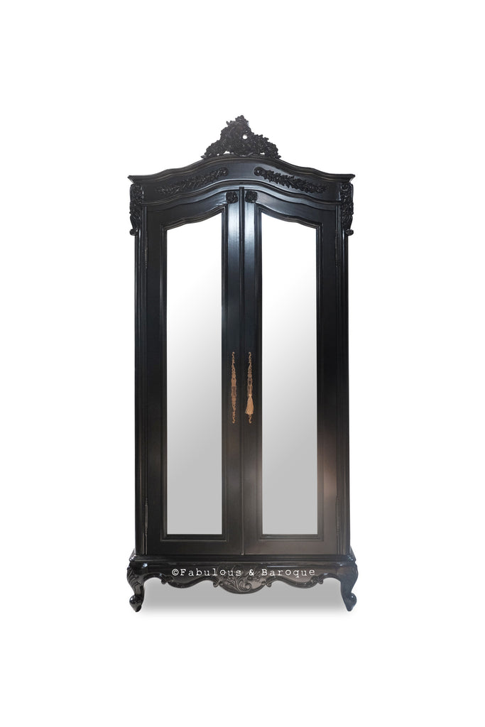 Cateline Mirrored French Large Wardrobe- Black