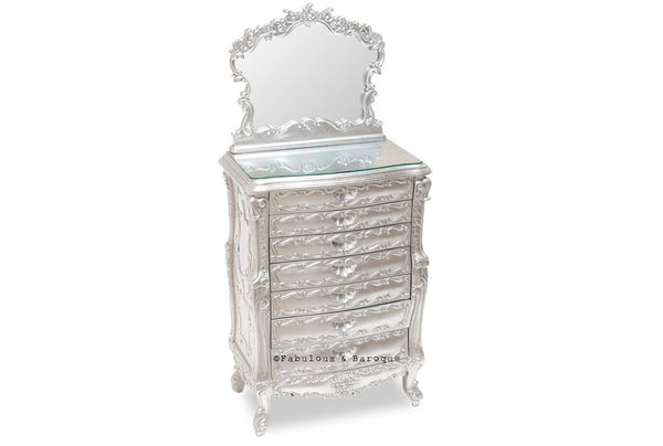 Ashleigh Jewelry Armoire - Silver leaf