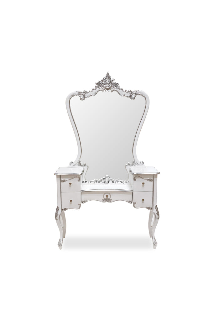 Ava Dressing Table & Mirror- White & Silver
