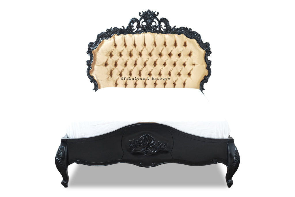 Night's Dream Tufted Bed - Black & Gold