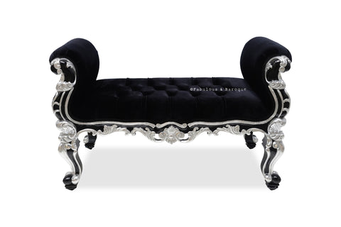 Fabulous and Baroque's Absolom Roche Bench - Black & Silver