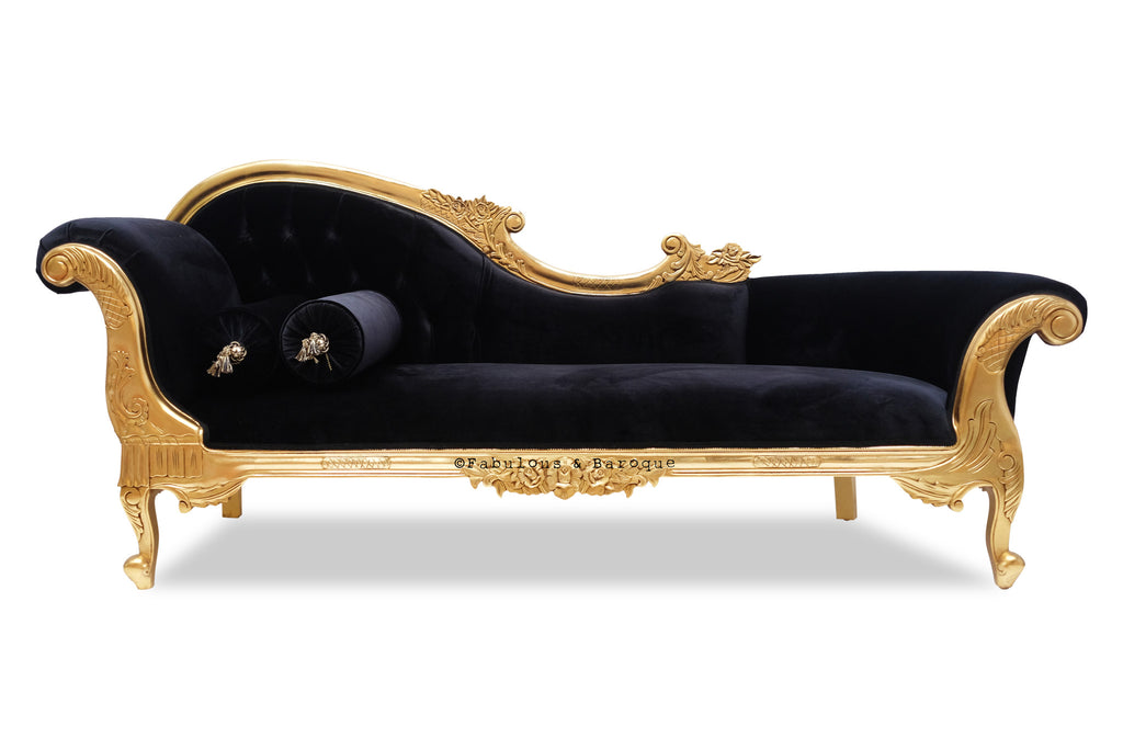 Queen Anne's Revenge Chaise - Black & Gold