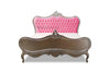Sabine Shabby Chic French Upholstered Bed - Silver & Pink