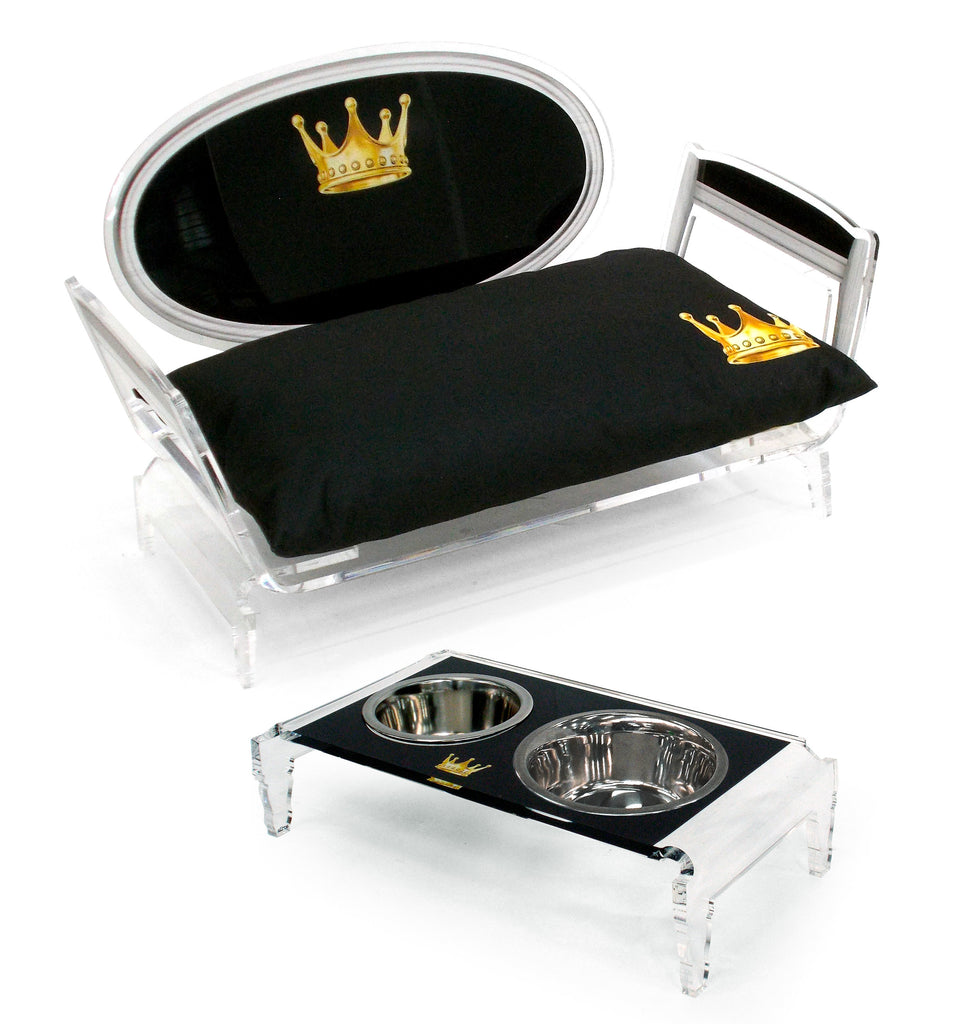 Sixteen Pet Food Tray - Black with White outline and Crown