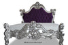 Marilyn Goth Bed - Silver Leaf and Purple Suede