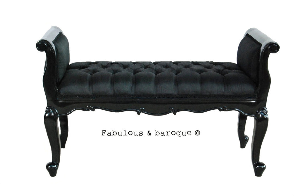 Isadora French Upholstered Bench - Black