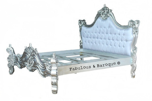 Royal Fortune Montespan Bed - Silver Leaf Upholstered