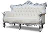 Belle de Fleur French Love Seat - White & Silver