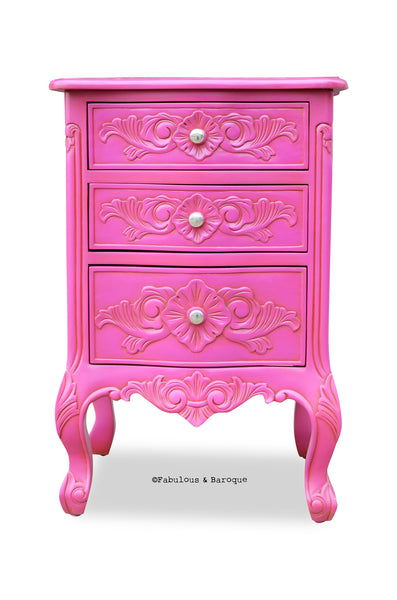 Rosetta French 3 Drawer Side Table - Fuchsia