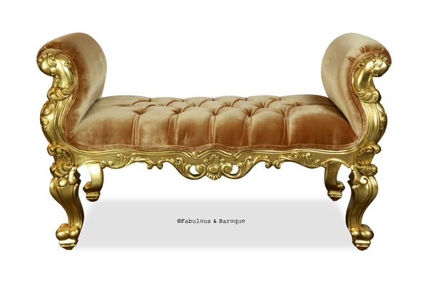 Fabulous and Baroque's Gryphon Reine Bench - Gold Leaf & Gold Velvet