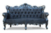 Belle de Fleur French Love Seat - Black Faux Suede