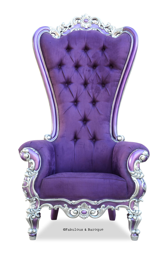 Gryphon Reine Chair - Silver & Aubergine Faux Suede