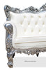 Belle de Fleur French 3 Seat Sofa - Silver & White