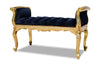 Isadora French Upholstered Bench - Black & Gold
