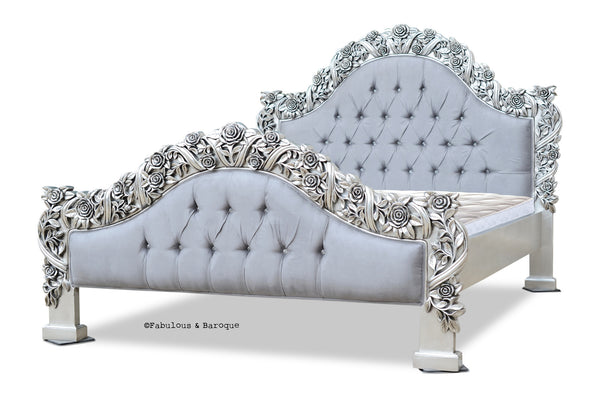 Rose Du Chantilly Bed Silver And Steel Grey Fabulous